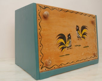 Mid Century Rooster Bread Box Teal Green Wooden