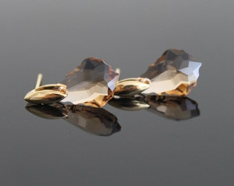 OOAK Smoky Swarovski earrings, amber gold earrings, sterling silver small earrings, simple everyday jewelry