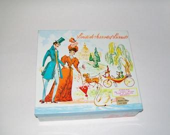 Vintage British Biscuit Tin Edwardian Couple Scene Advertisement Graphics