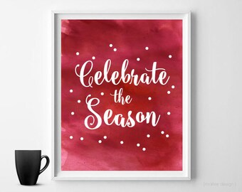 Christmas Watercolor Print Holiday Print Christmas Wall Art Digital Print Holiday Wall Art Christmas Print Christmas Decor Wall Decor 8x10