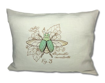 Miniature Menagerie Jewel Beetle Cushion Linen