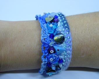 crocheted and beaded bracelet