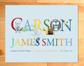 Personalized Baby Boy Birth Announcement Print, Modern Typography, ABC Wall Art, Children Decor, Childrens Wall Art, Custom Name