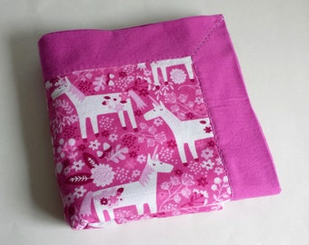 Unicorn Flannel Baby Blanket - Hot Pink & Purple with White Unicorns - Reversible Baby Blanket, Handmade Baby Shower Gift, Receiving Blanket