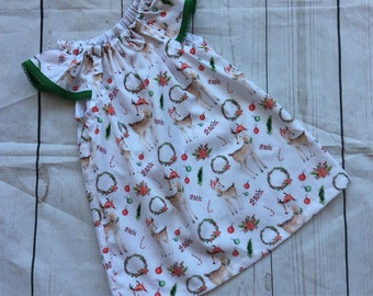 Christmas Deer Dress ready to post Flutter Sleeves Green And Red Christmas Dress Coming Home Outfit Baby Photos Baby Gift Xmas outfit