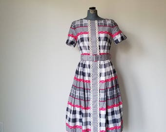 Vintage 1950's/1960's Pink, White, and Blue Checked Party Dress