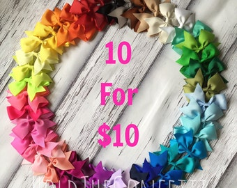 1.00 Each Hair Bows / Bow Set of 10 Ten Boutique Hair Bow Clip / READY TO SHIP / You Pick The Colors