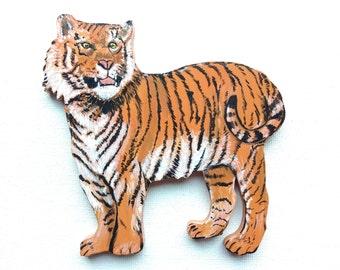 Tiger Magnet - Large Tiger Magnet - Tiger Kitchen Magnet - Tiger Gift - Tiger Decor - Wood Tiger Magnet - Wildlife Magnet - Animal Magnet