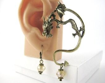 Gold or Silver Dragon Ear Cuff Earring Dragon Earring Dragon Earcuff Silver Ear Wrap Earring Ear Jewelry Ear Climber Fantasy Gift