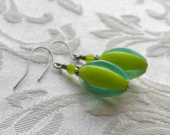 75% Off Price Sale, Earrings, Vintage Beads, Czech Glass Beads, Blue, Green, Silver Tone, Lightweight