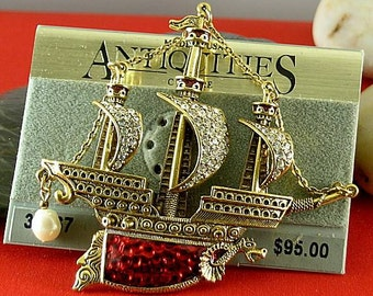 Vintage Red or Black Enameled Ship Brooch - Elizabethan Renaissance Victorian