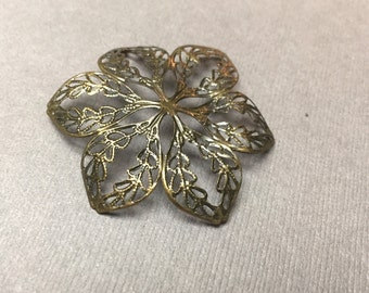 Handpainted Brass Filigree Flower. Filigree Connector. Pendant. Bronze. Brass Findings. Stone Wrapping Supplies. 45mm. One (1).