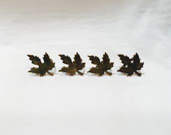 Set of 4 vintage brass leaf napkin rings, Brass napkin rings, Napkin rings, Napkin holders, Vintage napkin rings, Brass leaves