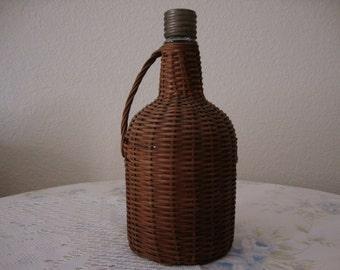 Antique 1890's Brown WICKER covered Glass DEMIJOHN Wine BOTTLE Straw Liquor Bottle Italian - French woven Bottle