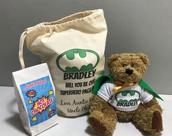 Will you be our Page Boy Super Hero Teddy Bear & Hot Chocolate Wedding Gift Set