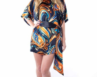 Silk Mini Dress, swirl pattern, silk belt, small