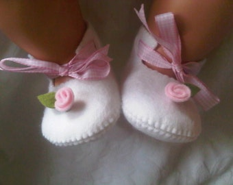 White with pink rose baby felt shoes