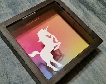 Glowing Unicorn Shadow Box Bank
