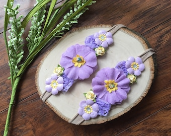 Lilac and yellow tie-back headband