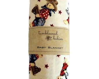 Teddy Bear Cowboy Baby Receiving Blanket /Swaddle Blanket/Newborn Flannel Blanket