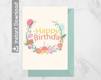 Bithday greeting card|Download Printable colorful cupcake balloon|Envelop include