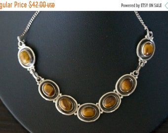 ON SALE Exquisite TIGER'S Eye Silver Necklace