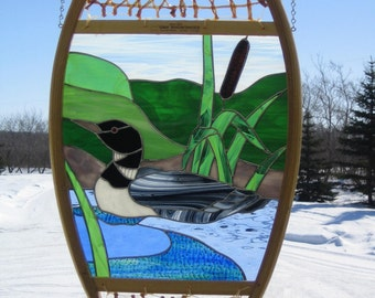 Loon on water Stained Glass Snowshoe