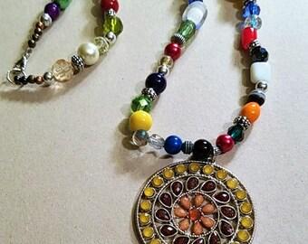 BoHo Beaded Pendant Necklace, Multi-colored Beaded Pendant Necklace