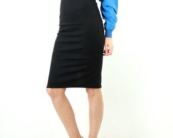 Black Pencil Skirt / Tight Skirt / Fitted Skirt / Bodycon Skirt / Skinny Skirt / Knee Length Skirt / Slit Skirt / Size S / XS