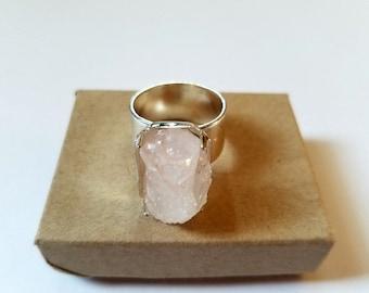 Raw Rose Quartz Ring | Raw Crystal Ring | Gemstone Ring | Statement Ring | Boho Jewelry | oversized ring