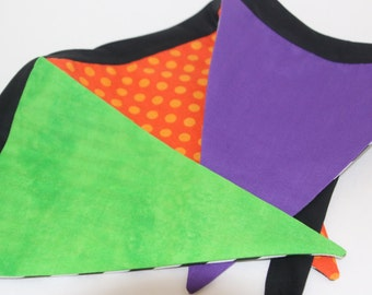 Flag Banner Bunting Halloween Witch Print and Stiped Fabric 7 Flags Reversible