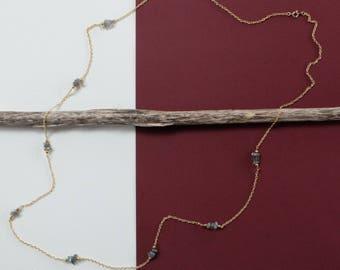 LABRADORITE - crystal chips long strand necklace - handmade