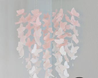Large Vellum Butterfly Mobile - OMBRE - Pastel Pink and White