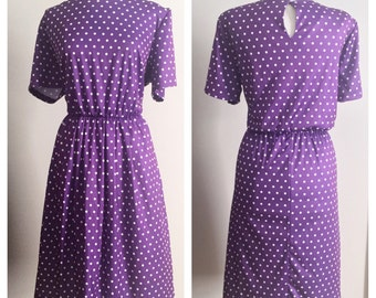 Purple Polkadot Dress // Anthony Richards Polyester // Plus Size Vintage Dress