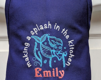 Personalized Embroidered Preschool Toddler K-6 Girl KITCHEN MERMAID Apron- 14 Fun Colors