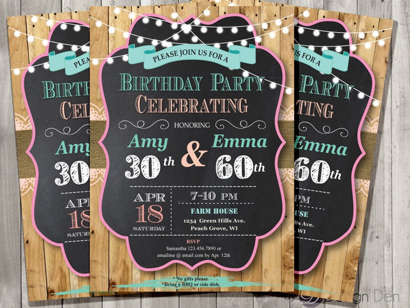 Adult Joint Birthday Invitation. Chalkboard.Country Chic.