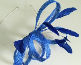 Lulu royal blue fascinator with feathers.  Bright blue wedding hat on band. Delicate fascinator.Electric blue. Ascot races.Derby.Millinery.
