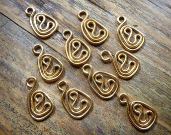 10 brass wire tear drop charms or dangles for jewelry making in 20ga wire, artisan made supplies, made to order,more available.