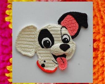 Crochet Pattern. Crocheted 3D Applique. Amigurumi dog muzzle. Funny crochet puppy. Patch (101 Dalmatians). Kids clothes decoration