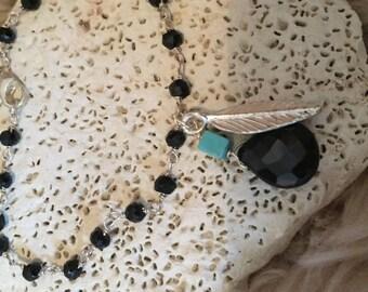 Black spinel beaded bracelet-turquiose bracelet- leaf charm