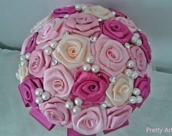 Wedding Satin brooch bouquet, Fabric bouquet, bridal bouquet, Vintage bouquet, Satin flowers bouquet, wedding bouquet