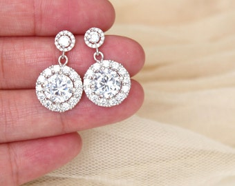 Crystal Bridal Earrings Bridal Jewelry Cubic Zirconia Round Halo Earrings Sterling Silver Post Wedding Jewelry Bridesmaids Gift Earrings