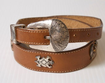 Vintage Brown southwestern Leather Belt by Silver Creek size 28 by Silver Creek