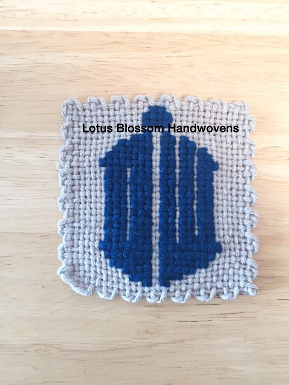 Doctor Who, TARDIS, Inspired, Home Decor, Wall Art, Handwoven, Textile Art,  Perfect Gift, Coaster, Geeky Gift.