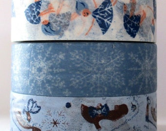 """CLEARANCE Christmas Washi Tape Three Roll Set """"Winter Frost"""" 15mm x 10 meters each roll"""