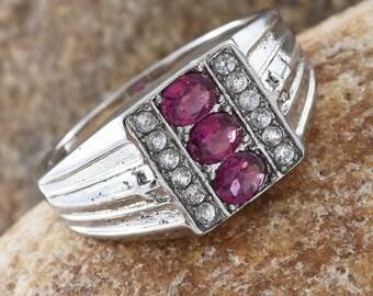 Man's Rhodolite Garnet Ring - Size 12