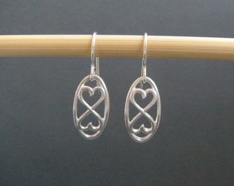 infinity heart earrings. small dangles. sterling silver heart earrings. sterling drop earrings. simple infinity jewelry. valentines day gift