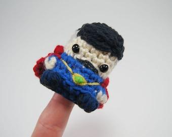 Crocheted Dr Strange Finger Puppet from the Avengers