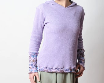 Lilac hooded sweatshirt, Purple sweater with floral mesh details, MALAM, size UK 12