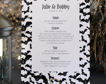 Halloween Bats Spooky Menu Creepy Gothic Dark Black White Scary Fall Wedding Party - Halloween Font